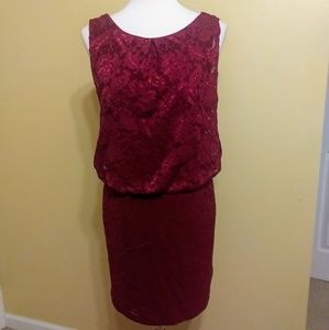 Bisou 🍷 lace stretch sleeveless dress sz 8